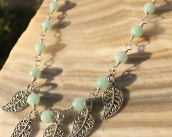 Tibetan Leaves and Aqua Stone Necklace