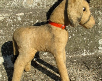 50s straw stuffed donkey, mid century French plush toy