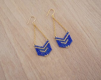 Bead weaving earrings geometric Chevron blue