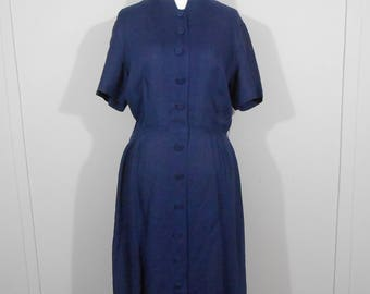 Vintage 1950s Royal Purple Irish Linen Dress By Taylor Town / Large / 50s Mid Length Button Front Dress