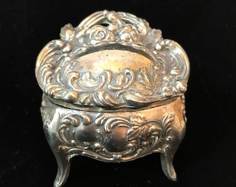 Antique Small Metal Jewelry Casket