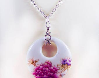 PORCELAIN PENDANT, floral pendant, porcelain jewelry, floral jewelry, silver-plate chain, magnetic clasp, 25.5 inches, mauve flower - 2004