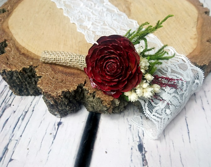 Wine deep red burgundy rustic wedding BOUTONNIERE cedar rose groom groomsman dried flowers greenery burlap elegant classic one flower