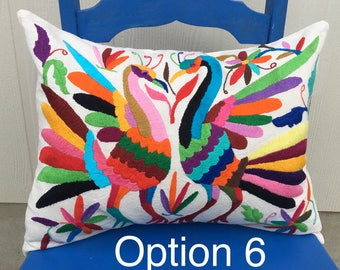"Hand Embroidered Otomi Pillow ""Colorines I"""