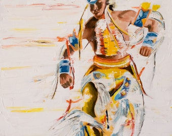 """Native American, Oil on Canvas, Titled  """"Brilliant"""" From the Vanishing Series, By Del Curfman, #1160"""