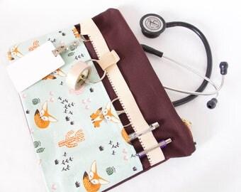 Stethoscope Pouch. FOX CACTUS Bag.Nurse Gift.Medical Assistant.Physician Assistant.Vet Tech Gift.Vet Gift.Fox Lover Gift.RN Gift.Doctor Gift