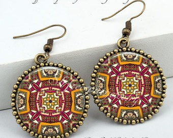 Ethnic Jewelry, Bohemian Necklace and Earrings, Mandala,Ethnic, India, Boho Style Accessories, Artistic, Unique, Gift for Women
