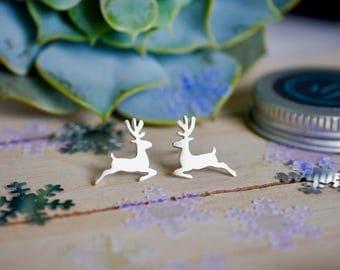 Sterling Silver Reindeer Earrings / 925 / reindeer studs / Christmas earrings / gifts for her / stocking fillers / hypoallergenic / gift