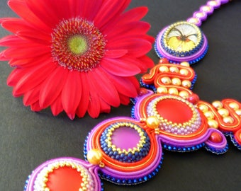 Butterfly soutache necklace