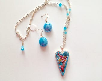 Blue-Teal Heart Crystal Necklace with Colorful Swarovski Crystals, Vintage Crystals and Rhinestones - One of a Kind