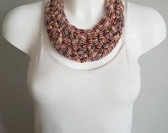 Bib necklace, crochet necklace, fabric necklace, t-shirt necklace, statement necklace, colorful necklace