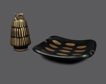 Mid Century Ceramic Ashtray Lighter Set 95/240 Limited Edition USA Made Black Gold Golden Dots MCM Modern Decor
