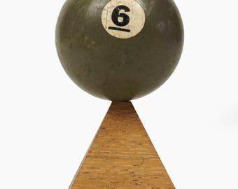 "No. 6 Pool Ball Miniature Clay Billiard Ball Size 1 5/8"" Green Six VI Solid Solids"