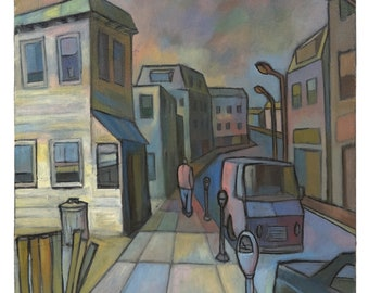 "1980 David Walker ""View of Bronxville"" Oil Painting"