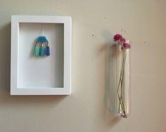 Geometric Minimalist Beaded Tassel Framed Wall Art