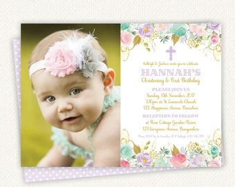 Baptism Birthday Invitation Baptism Invitation Birthday - Birthday invitation and christening