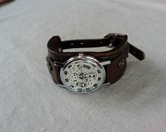 Men's Western Leather Cuff Watch