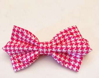 Pink and White Houndstooth Diamond Bow Tie