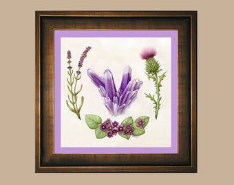 Ultra Violet - Amethyst Crystals, Lavender, Milk Thistle, African Violet Watercolor Print, Purple 2018 Color of the Year February Gemstone