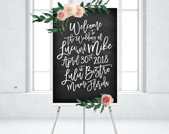 Black Chalkboard Welcome Sign White Bold Calligraphy . Madina Script Painted Brush Messy Ink . PRINTED on Foam Board - Wood Frame No Glass
