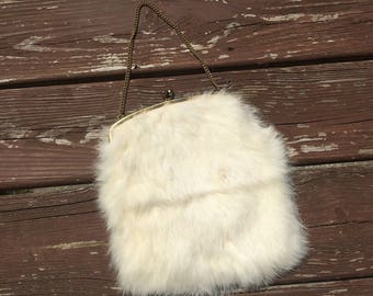 Vintage White Fur Handbag