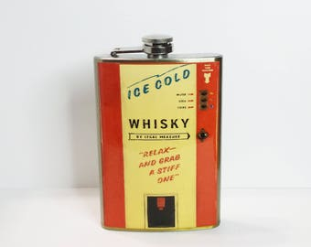 Vintage Whiskey Vending Machine 8 oz stainless steel flask