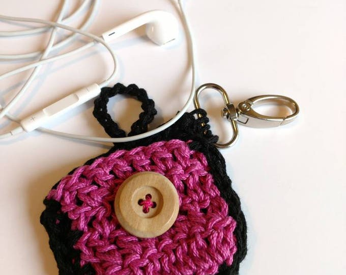 Featured listing image: Earbuds case crochet earphones case hot pink and black earbuds case with wooden button closing and with keychain hook keychain charms