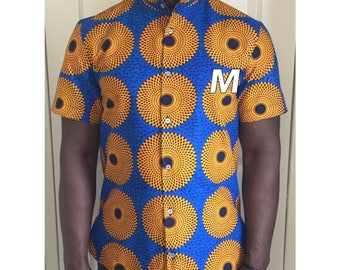 Shirt, korean collar . African fabric ,african print. Medium size