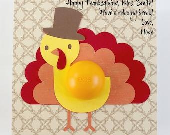 Turkey Card •  Thanksgiving Teacher Gift • Turkey EOS Lip Balm Holder • Gift for Her • Thanksgiving Card •  Lip Balm Holder • Thank you Gift
