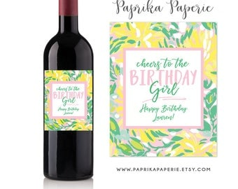 Birthday Gift Wine Labels Birthday Girl Lilly Pulitzer inspired Gift for Her Wine Labels Birthday Removable Birthday Sticker Label