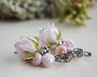 Pink Lampwork flower earrings, floral lampwork earrings with sterling silver, glass earrings, flower jewelry, Pink Roses