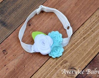 Baby Girl Felt Flower Headband, Baby Girl Mint Green Hair Bow, Girls Headband and Bows, Adjustable Baby Headband, Infant Headbands Hairbows