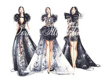 Black wall art, Fashion wall art,Black art, Fashion illustration, Fashion painting, Fashion print, Art for women, Fashion lover, Modern art