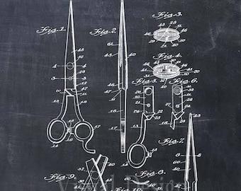 Barber's Scissors Patent Print - Patent Art Print - Patent Poster - Barber Art - Barbershop - Barber Gift - Barber Print
