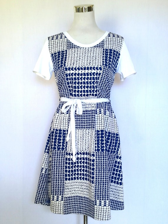 The Clementine knit stretch dress in blue and white patchwork print