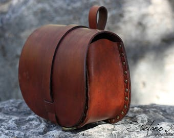 Brown leather pouch - LARP and Cosplay