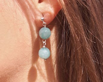 Jade earrings, sterling silver earrings, gemstone earrings, pale green earrings, dangle earrings, drop earrings, matching jewellery, gifts