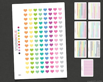 Heart Stickers - 120 Tiny Hearts- Planner Stickers - Removable Matte Vinyl