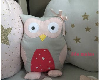 Musical plush or plush OWL or grey OWL and pink unique and original handmade gift
