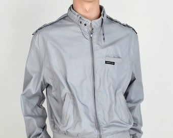 Members Only Mens Vintage 1980s Lightweight Classic Light Grey Zip Up Snap Latch Collar Snap Shoulder Epaulets Jacket - Size 44