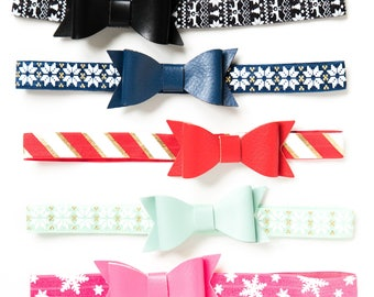 Holiday Bow Headbands | Faux Leather Bow Christmas Headbands for Baby Toddlers Girls, Elastic Headband, Red + Green Christmas Aztec Tribal