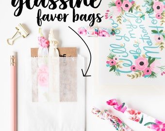 Glassine Favor Bags | Gift Packaging for Hair Tie Favors, Wedding Bridal Shower Favors, Birthday Party Small Gift Bags, Bridesmaid Gift Bags
