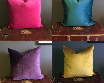Set of 2 Mix and Match Velvet Cushion Covers - Teal/Gold/Pink/Purple