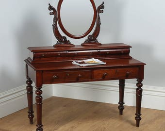 Antique Victorian Anglo Indian Colonial Teak Makeup Dressing Table with Mirror (Circa 1860)