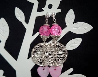 Silver earrings, pink, with heart ref 45