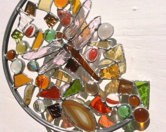 Stained Glass Dragonfly Sun Catcher'Dragonfly Dreams.Glass Art,Mixed Ambers & Orange,Nature,Insect,Wildlife,OOAK Birthday Gift.