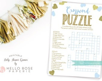 Baby Shower Crossword Puzzle Game . Blue and Gold . Printable Instant Digital Download . Boy Baby Shower Games . Glitter Hearts Confetti