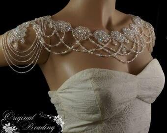 Swarovski Statement Beaded Bridal Shoulder Necklace Vintage