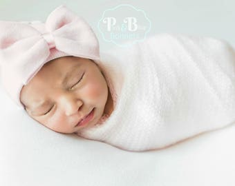 Pink Infant Hospital Hat Bow Baby Girl Hospital Hat Beanie with Bow