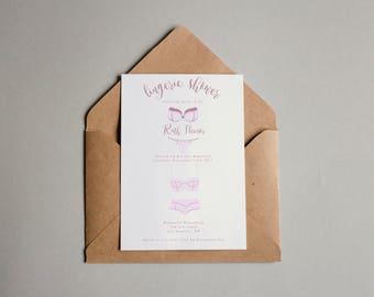 Lingerie Shower Invitation | Front & Back | Wedding Shower | Customizable | Includes envelopes